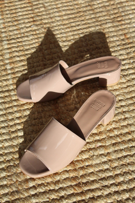 Maryam Nassir Zadeh MNZ Sophie Slide Taupe Patent Leather