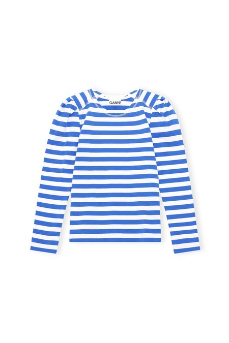Ganni Puff Sleeve Striped Pullover - Blue/White Stripe