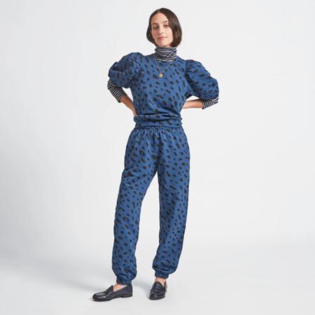 Clare V. Faded Marine Sweats - Blue/Black Print