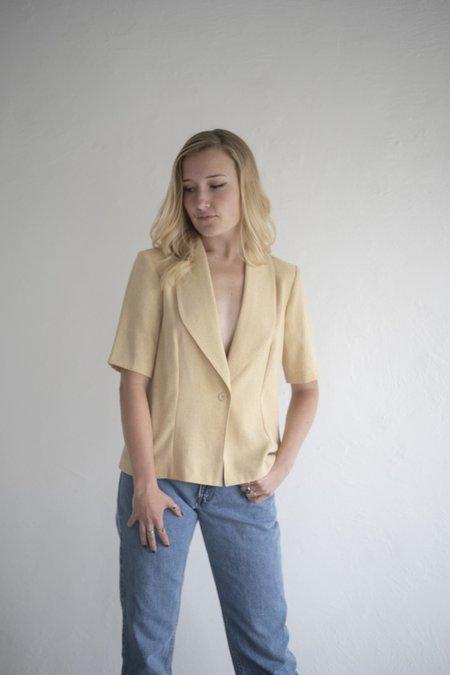 Vintage Short Sleeve Blazer Top  - natural