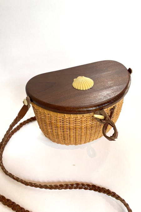 Vintage Nantucket Basket Bag with Shell