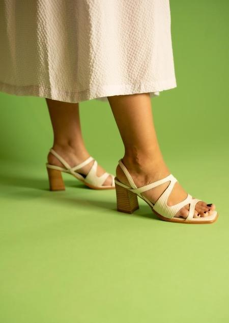 """INTENTIONALLY __________."" If Sandals - Cream"