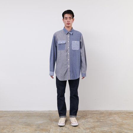Engineered Garments Cotton Chambray Utility Shirt Combo - Blue