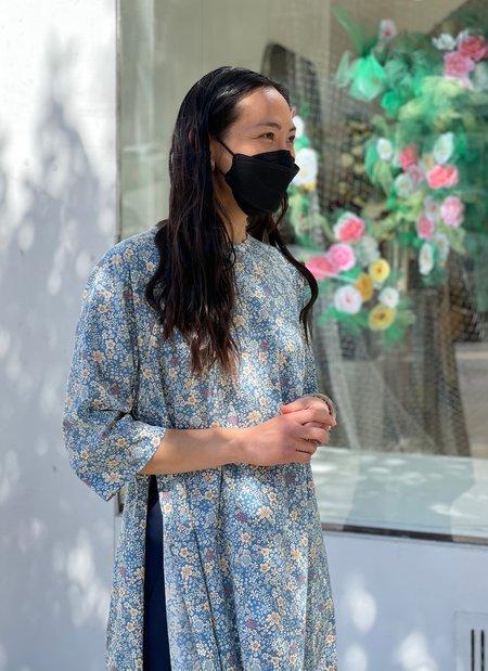 KAAREM Shale Raglan Sleeve Side Slit Tunic/Dress - Blue Floral Print II