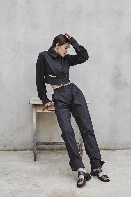 K M by L A N G E Cotton Cuffs Pants - Black