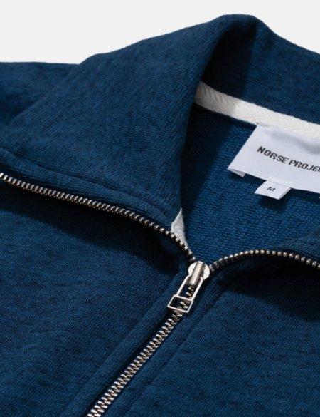 Norse Projects Jorn Cotton/Linen Half Zip Polo - Deep Teal