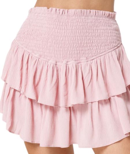 Lola Emma Ruffle Smocked Mini Skort - Dusty Pink