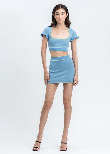 Danielle Guizio Knit Dual Color Mini Skirt - Blue