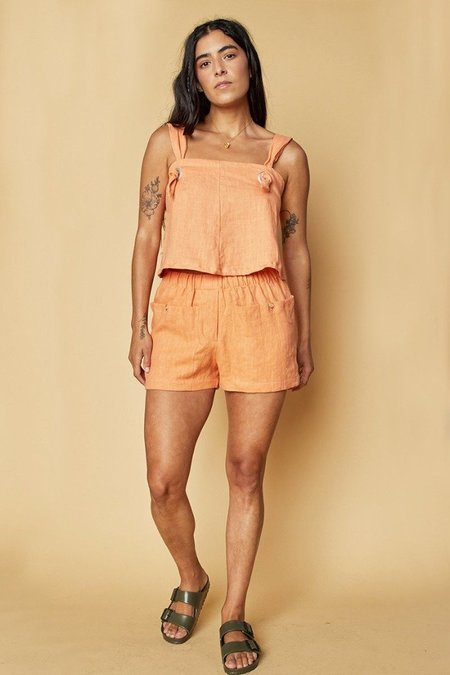 Back Beat Co.: Linen Knotted Camisole - Peach