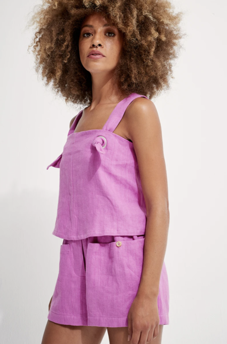 Back Beat Rags Linen Knotted Cami - Cyber