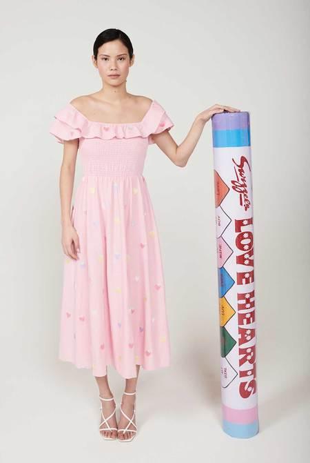 Olivia Rubin Talia Strawberry Embroidery Dress - pink