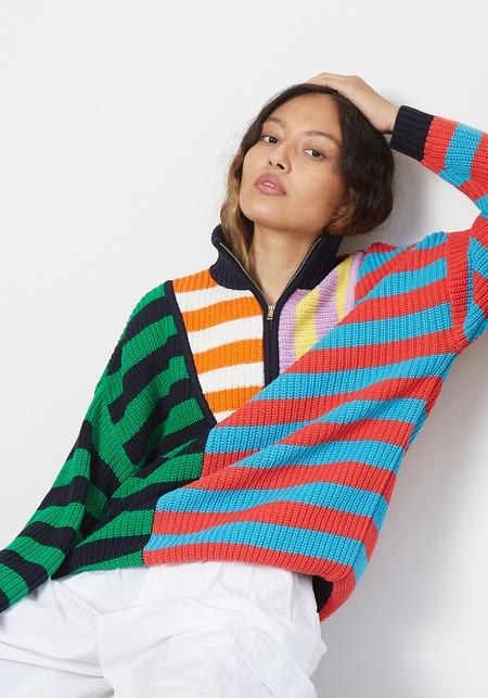 Staud Hampton Sweater - Cabana Stripe Multi