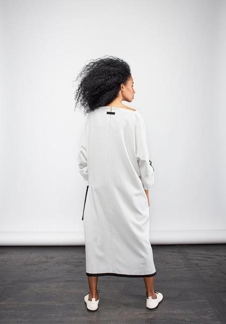 NY 77 Design Oversized Ant Detail Dress - Light Grey