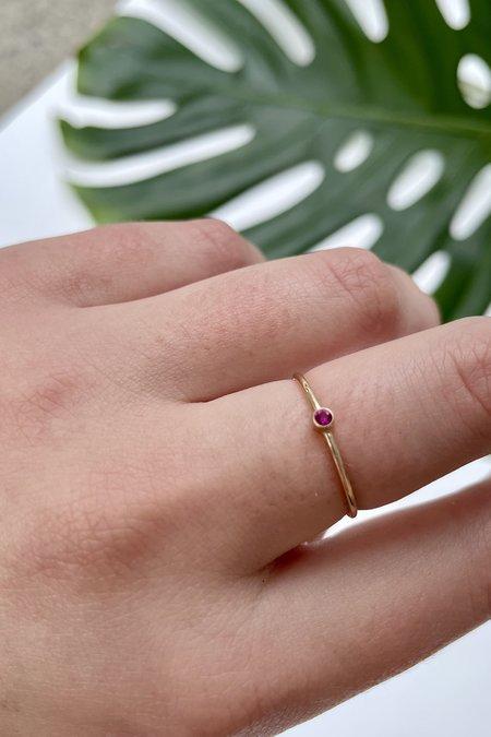 The Minimalist Magnolia Tiny July Ruby Ring
