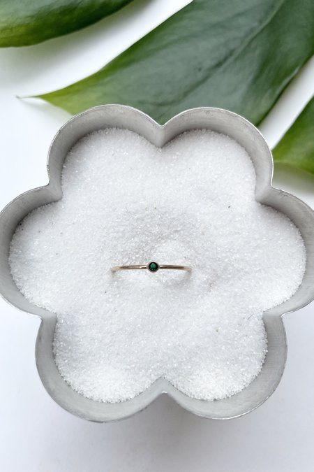 The Minimalist Magnolia Tiny May Emerald Ring