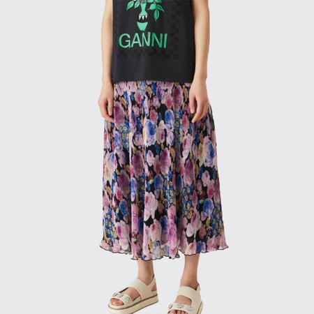 Ganni Pleated Georgette Skirt - Multi