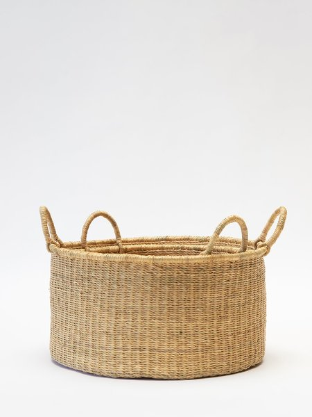 Swahili Modern Large Elephant Grass Floor Basket - Natural