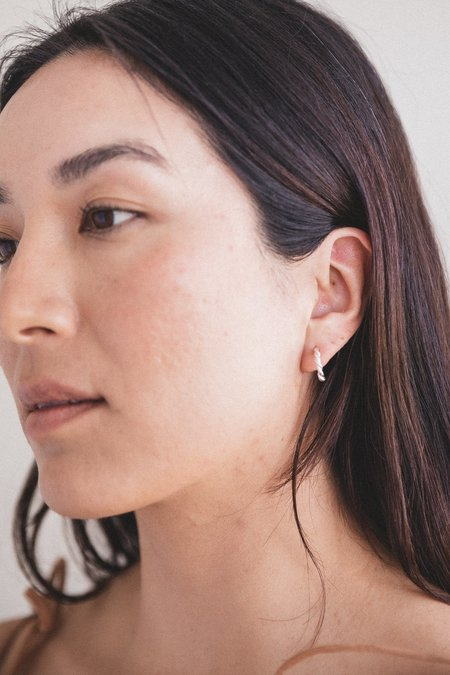Another Feather SMALL ROPE HOOPS - SILVER