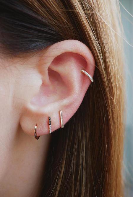 EF Collection SINGLE 2 Tone Diamond Bar Stud Earring - 14K GOLD/BLACK DIAMOND/WHITE DIAMOND