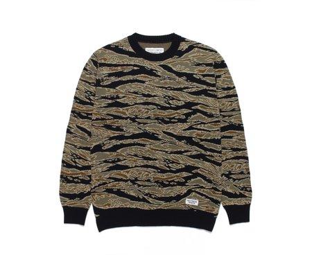 Wacko Maria Tiger Camo Jacquard Sweater - Olive