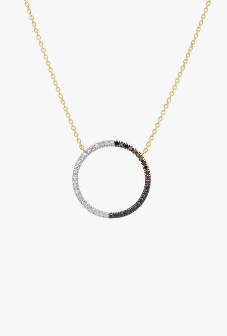 Eriness Diamond Circle Necklace - Black/White