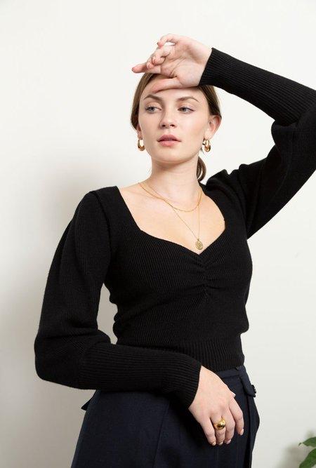 Azalea Camila Ruched Puff Sleeve Sweater