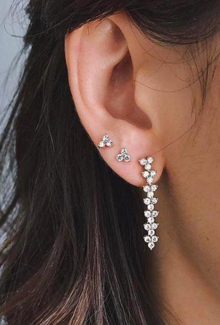 EF Collection Diamond Trio Stud Earring - 14k White Gold/White Diamonds