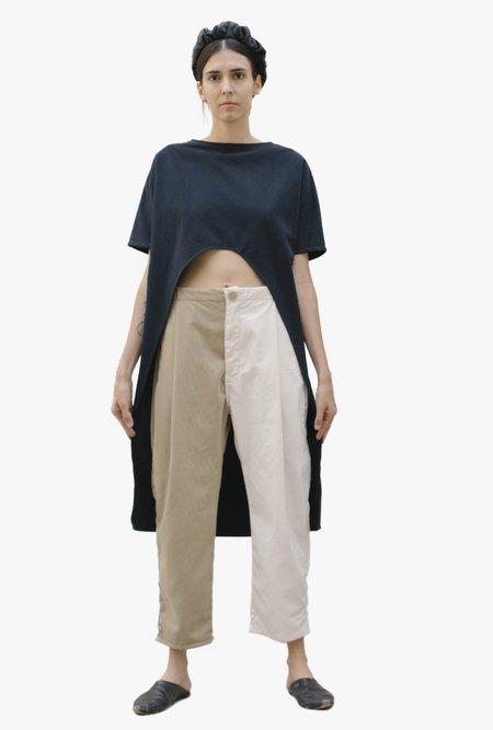 Unisex Nin Studio Double Tunic Dress - Navy/Cream