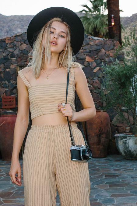 Merritt Charles Harper Trousers - Desert Tan Stripe
