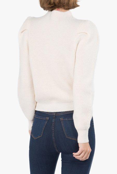 Azalea  Jill Mock Neck Puff Sleeve Sweater - CREAM
