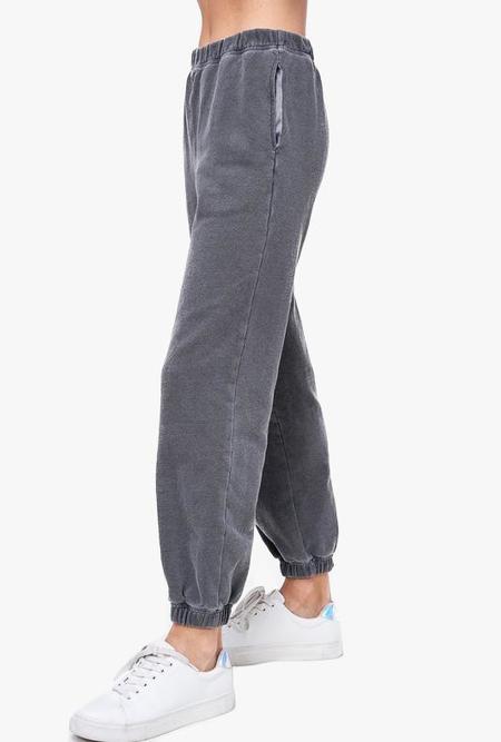 Azalea Roxy Garment Dye Joggers PANTS - Charcoal