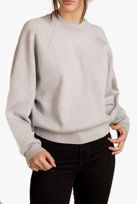 Azalea Rue Ribbed Hem Knit Sweater - Light Silver
