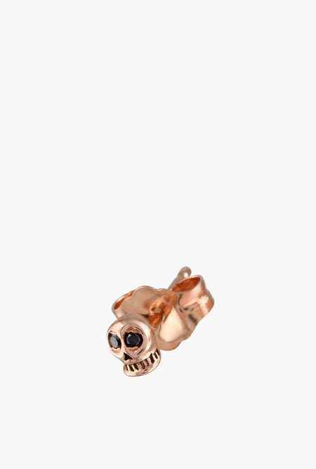 Jaine K Designs Skull with Black Diamond Eyes Stud - 14k Rose Gold