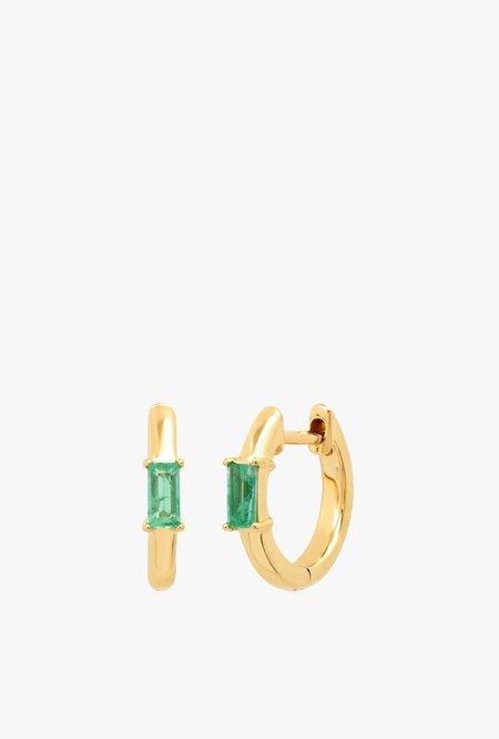 Eriness Stationary Emerald Baguette Huggie - 14kYG