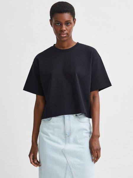 Selected Femme Frame Tee Shirt - Black