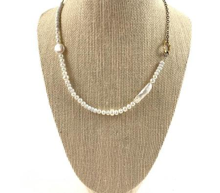 Farah Bean Freshwater Pearls and Beads Necklace - white