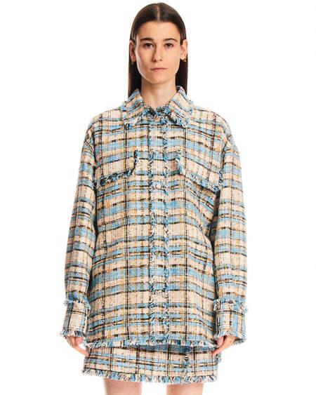MSGM Checkered Fringes Jacket - Multicolor