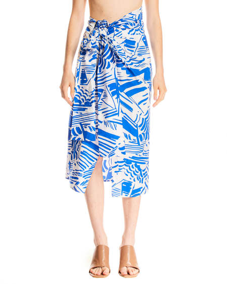 MSGM Summer Brushed Print Skirt - White and Blue