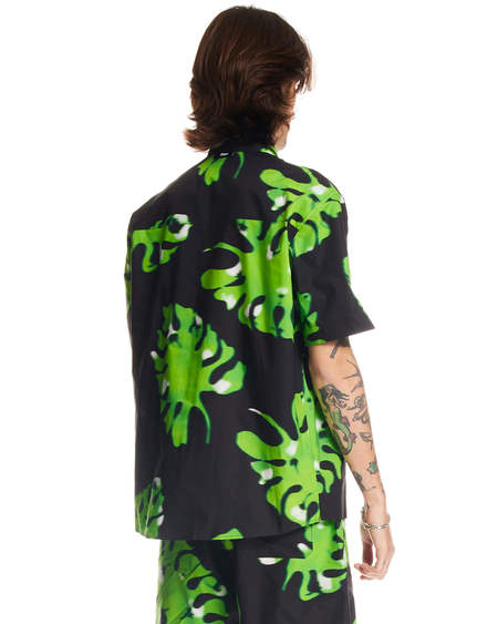 MSGM Monstera Pattern Shirt - Black/Green