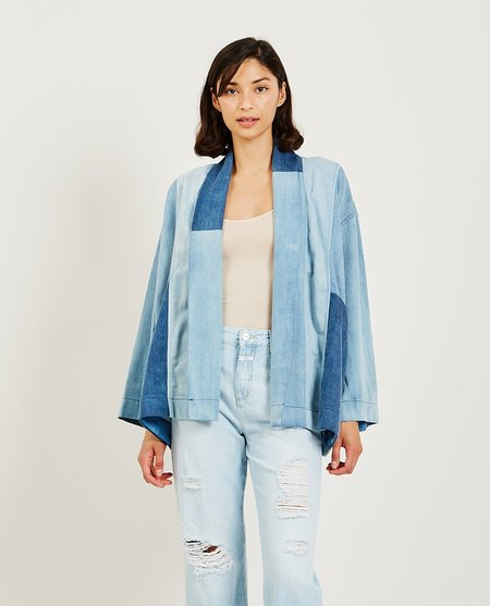 Closed Patchwork Kimono - Mid Blue
