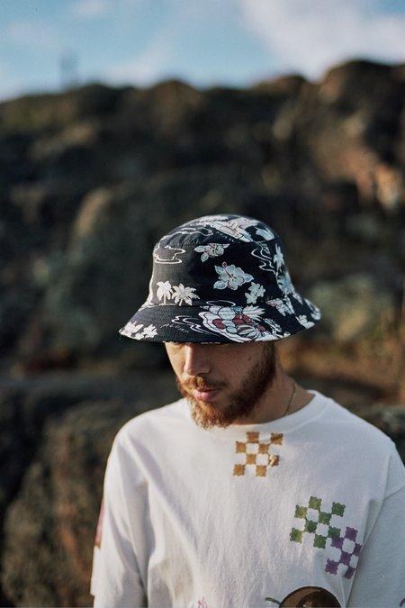 Lite Year Hawaiian Print Bucket Hat - Navy