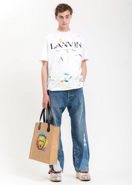 LANVIN Printed Kraft Paper Grocery Bag - Beige
