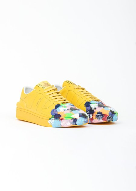 LANVIN Painted Lather Clay Low Top Sneaker - Yellow