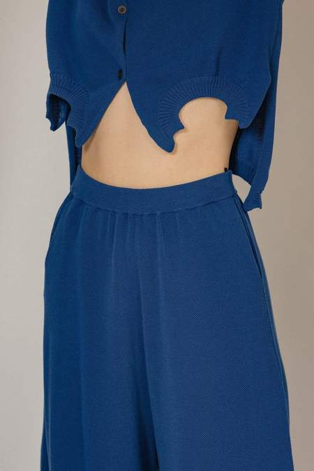 Oyuna Luan Knitted Cotton Trousers - Blue Sky