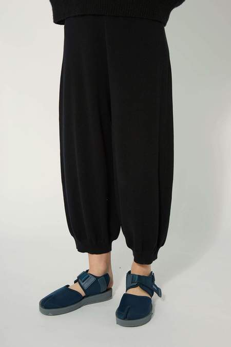 Oyuna Luan Knitted Cotton Trousers - Jet Black