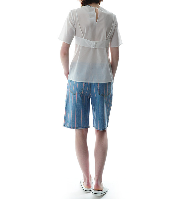 T By Alexander Wang Cotton Voile Short Sleeve Tee with Bra