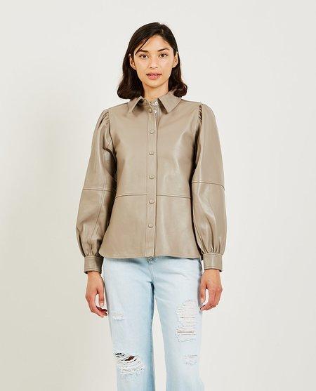 Ganni Lamb Leather Shirt - Tan