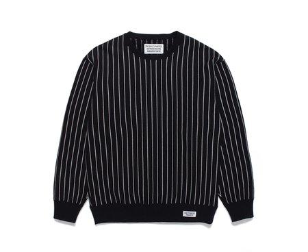 Wacko Maria Striped Crew Neck Sweat Shirt - Black/White