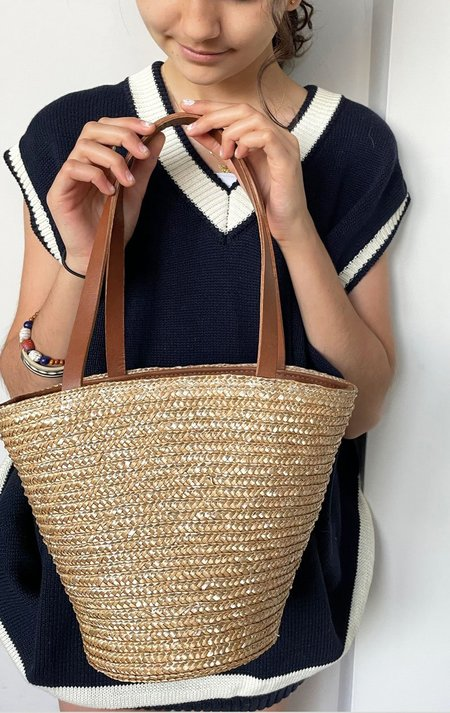 J Exquisite Mini Straw Basket Handbag - Natural Raffia