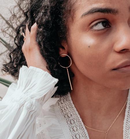 Gem & Blue Sphere Drop Earrings - Silver
